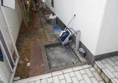 立水栓の排水パンを撤去